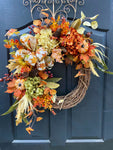 NEW! Fall Wreath, Front Door Wreath for Fall, Fall Floral Wreath, Monogram Fall Wreath