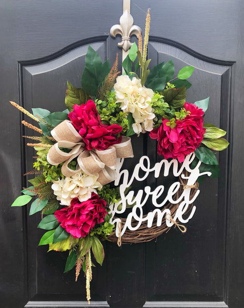 Spring Wreath for Front Door, Spring Wreaths for Front Door, Spring Door Wreath, Grapevine Door Wreath, Summer Wreaths, Peony Wreaths