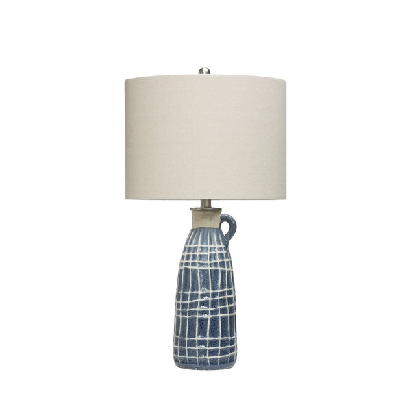 Table Lamp w/ Embossed Grid Pattern, Blue