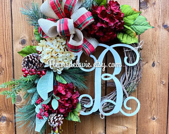 Christmas Door for Front Door, Wreath for Christmas, Monogram Wreath, Christmas Door Wreath,  House Wreath, Front Door Christmas Wreath