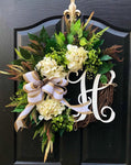 Spring Wreaths for Front Door, Front Door Wreaths, Farm House Wreaths, Hydrange Wreath, Grapevine Wreath, Farmhouse Wreath