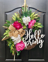 NEW! Limited Availability! Spring Wreaths for Front Door, Front Door Wreaths, Monogram Door Wreaths, Hydrangea Wreaths, Grapevine Wreaths