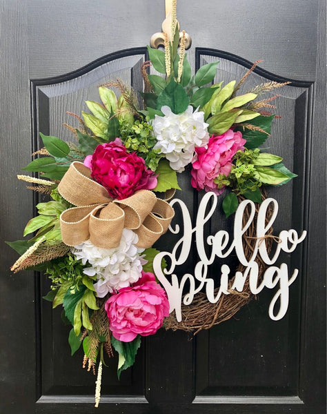 Hello Spring, Spring Wreaths for Front Door, Front Door Wreaths, Monogram Door Wreaths, Hydrangea Wreaths, Grapevine Wreaths