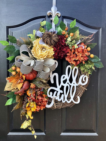 NEW! Fall Wreaths for Door, Fall Wreaths, Wreaths for Door, Fall Door Wreath, House Warming Gift, Front Door Wreaths, Lambs Ear, Farm House