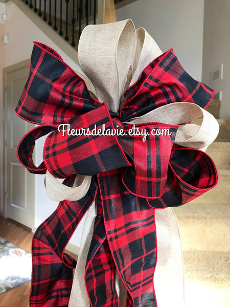 Plaid Christmas Tree Topper, Christmas Tree Bow, Red Buffalo Tree Topper, Tree Topper, Rustic Tree Topper, Red Buffalo Bow