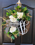Wreath for Front Door, Front Door Wreaths, Wreaths, Hydrangea Wreath, Grapevine Wreath, Farmhouse Wreath, Summer Door Wreath