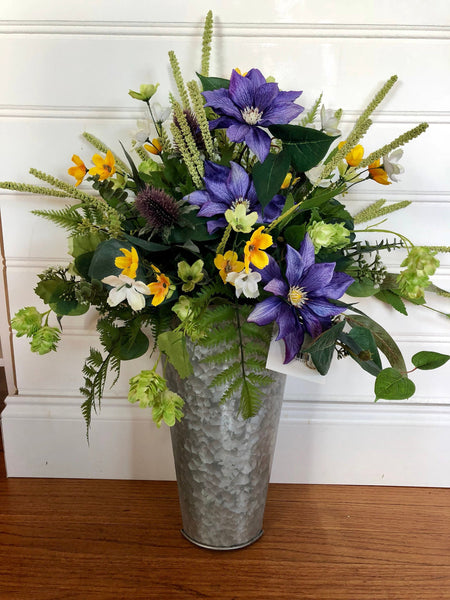 READY TO SHIP! Galvanized Floral Arrangement, Door Decor, Door Hanger, Container Arrangement, Farm House Decor, Clematis, Door Decor