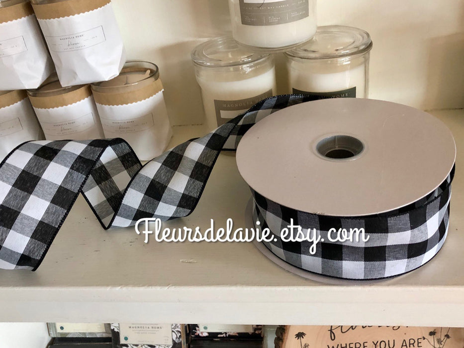 "2.5"" Black and White Buffalo Plaid Wired Ribbon, Buffalo Check Ribbon, Ribbon, Farm House Ribbon"