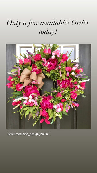 NEW! Spring Wreaths for Front Door, Front Door Wreaths, Tulip Door Wreaths, Spring Wreaths, OutDoor Wreath, Wreath for Spring