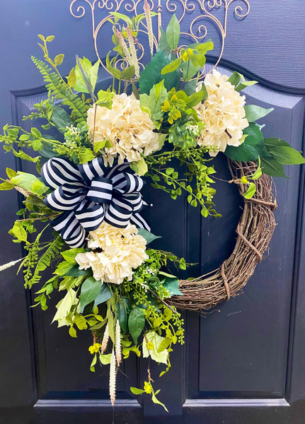 NEW! Spring Wreaths for Front Door, Home Sweet Home Decor, Hydrangea Wreaths, Cotton Wreaths, Farm House Wreath
