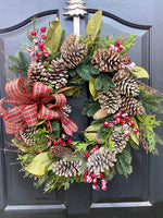Winter Ever Green Wreath, Evergreen Wreath, Christmas Wreaths, Front Door Wreaths, Farmhouse Wreaths