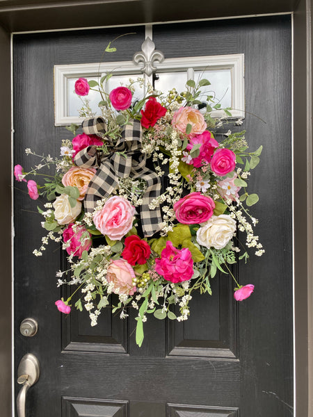 New! Front Door, Spring Wreaths for Front Door, Spring Door Wreath, Grapevine Door Wreath, Summer Wreaths, Rose Wreaths
