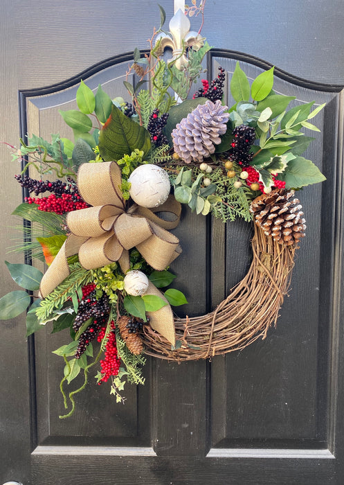 Winter wreath, Christmas Door Wreath, Birch Wreath