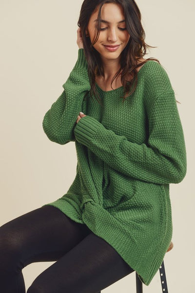 Twist Front Sweater in Green