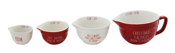 1-1/2, 1, 1/2 & 1/4 Cup Stoneware Measuring Cups w/ Sayings, Set of 4