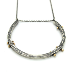 Driftwood Rib Necklace, Sterling Silver and 14k gold necklace