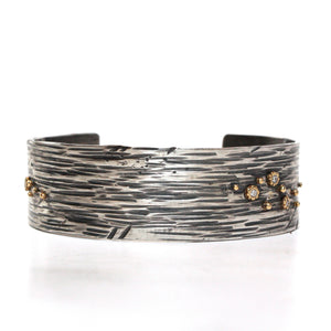 Driftwood Cuff with 18k Gold and Diamonds