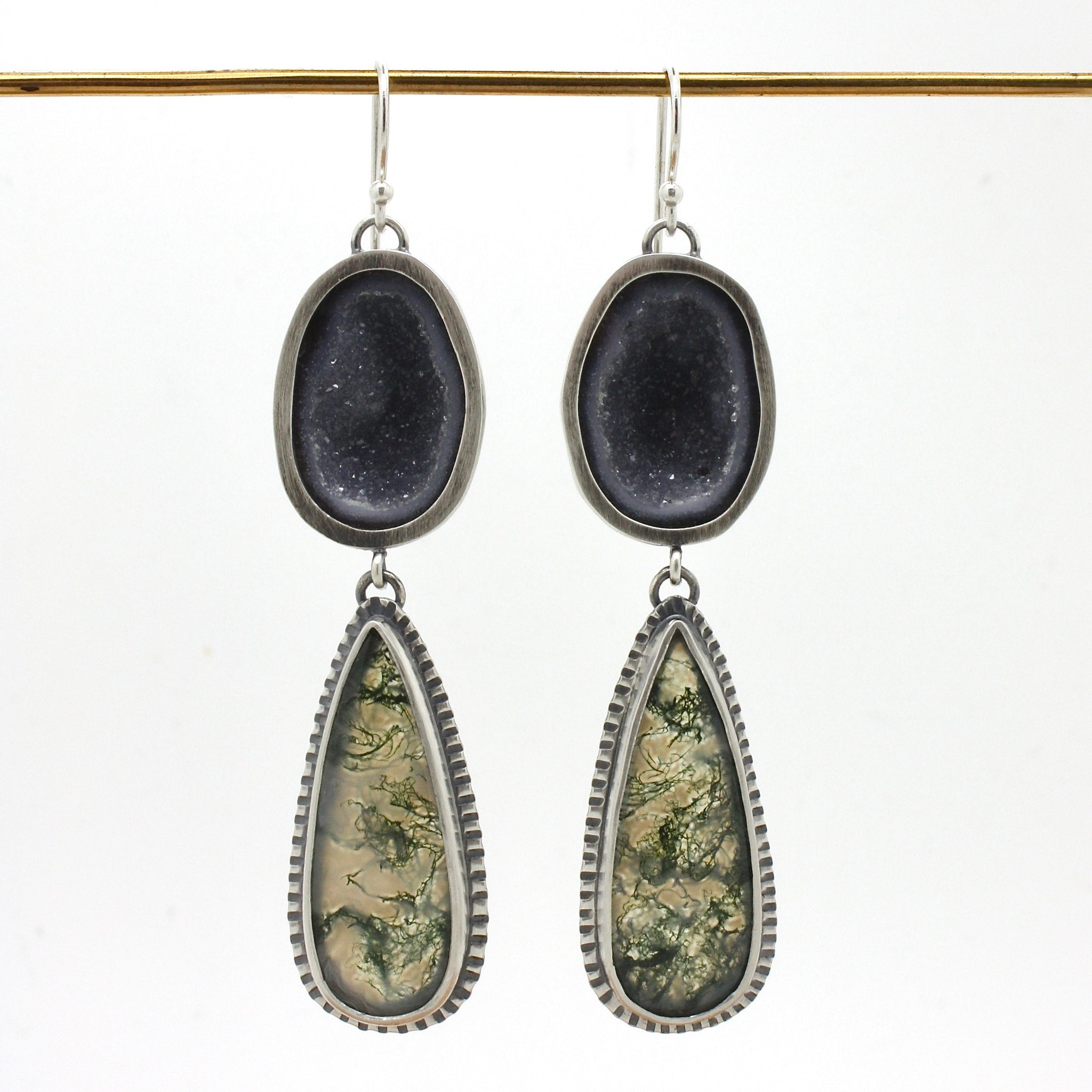 Geode and Moss Agate Earrings