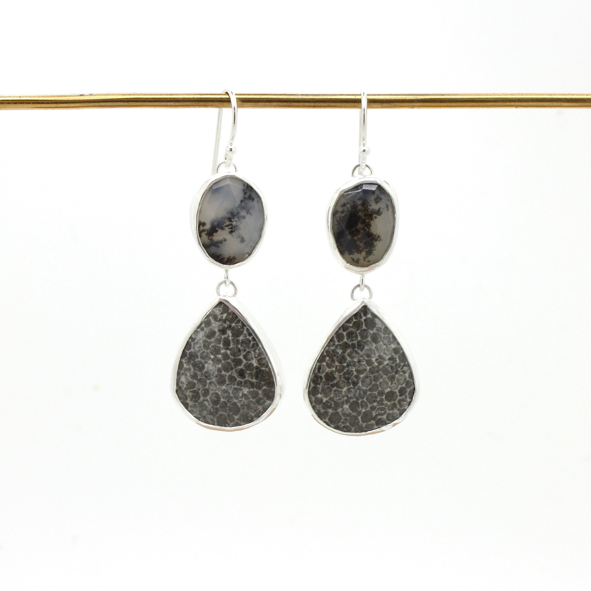 Dendritic Opal and Fossilized Coral Earrings