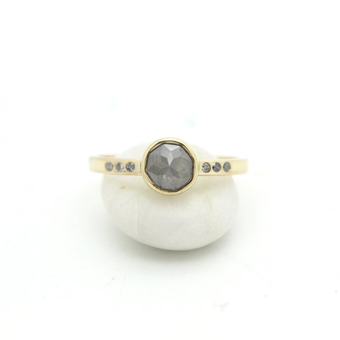 Grey Rose Cut Diamond Ring | Size 7.5