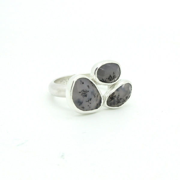 Dendritic Opal Trio Ring | Size 8.5