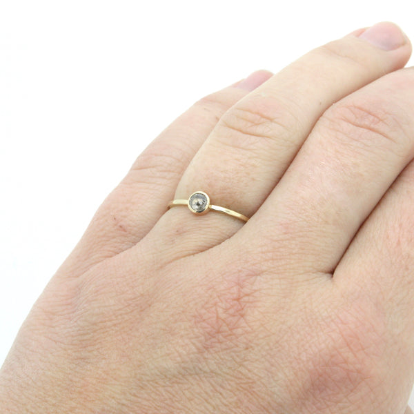 Petite Salt and Pepper Diamond Ring | Size 6.5