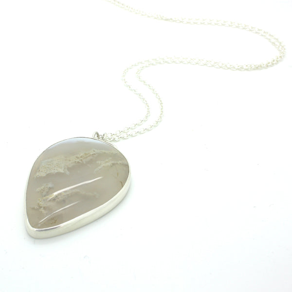 Inverted Moss Agate Teardrop Necklace