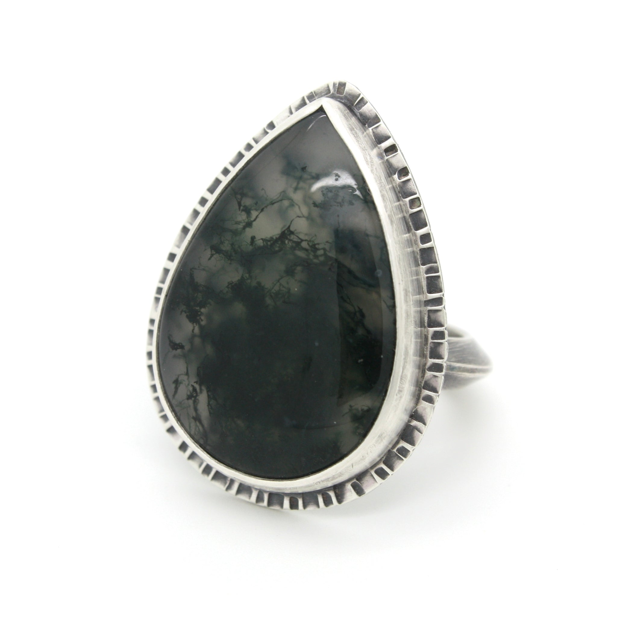 Textured Moss Agate Teardrop Ring | Size 8.5