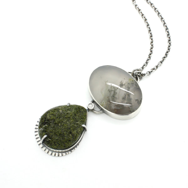 Epidote and Moss Agate Necklace