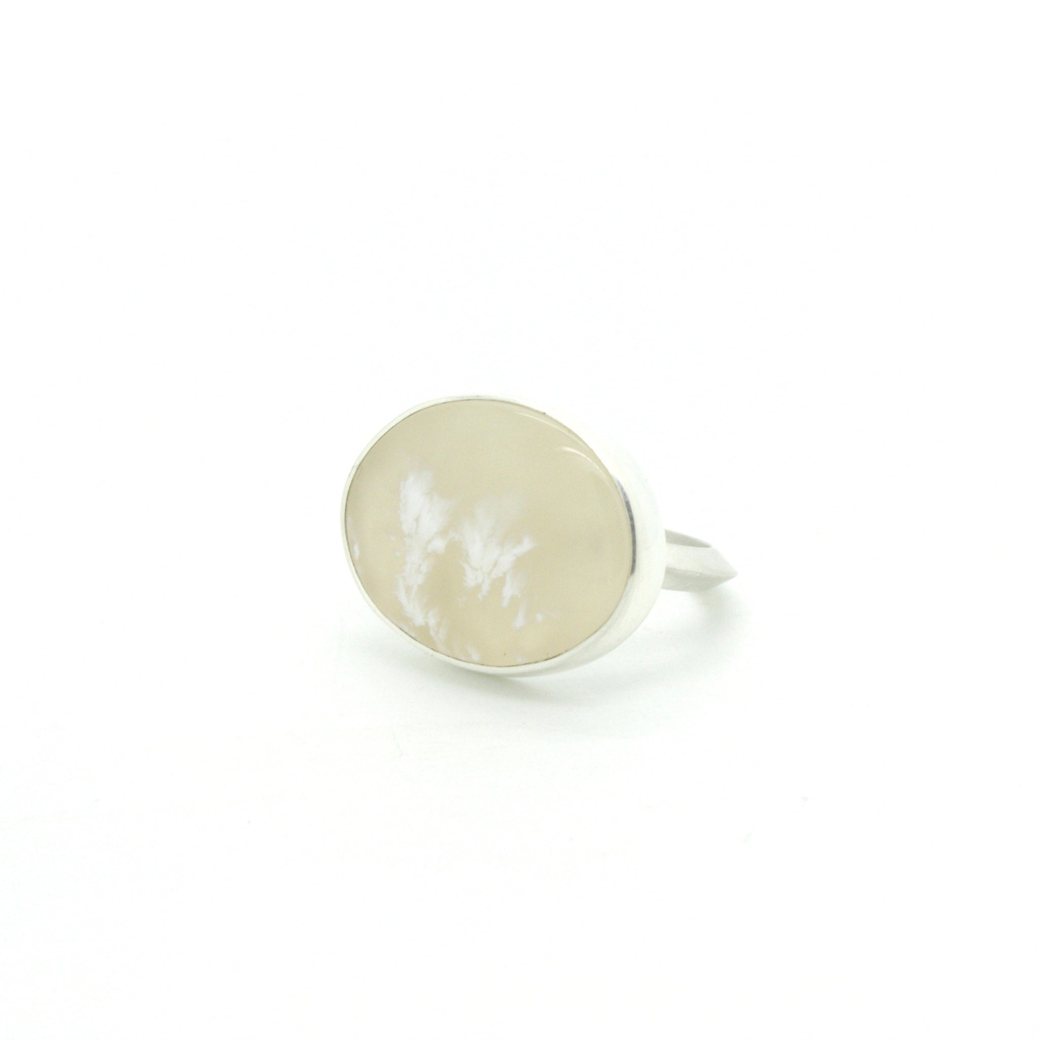 Creamy Plume Agate Ring  | Size 7.25