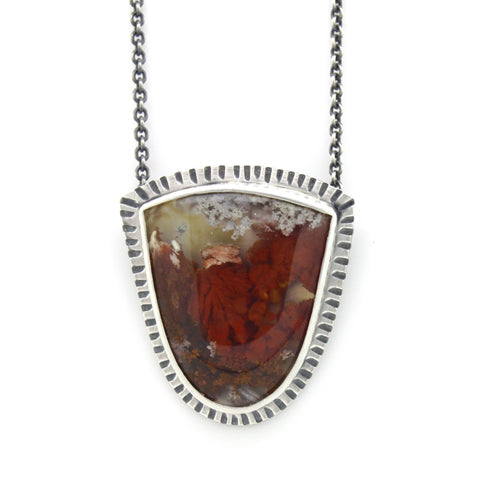 Plume Agate Shield Necklace