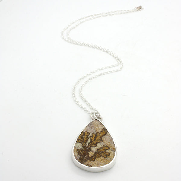 Dendritic Sandstone Teardrop Necklace