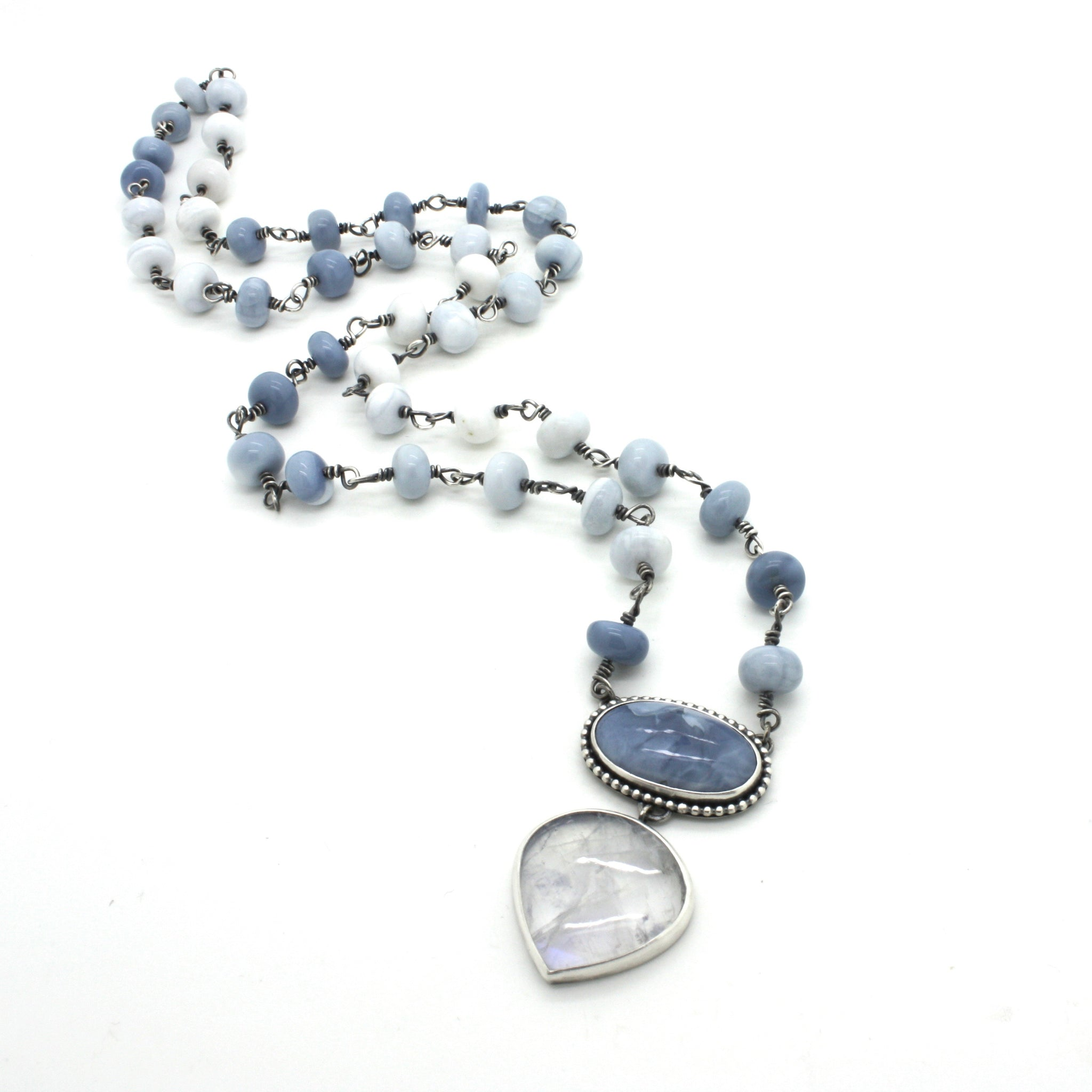 Grand Blue Opal and Moonstone Necklace