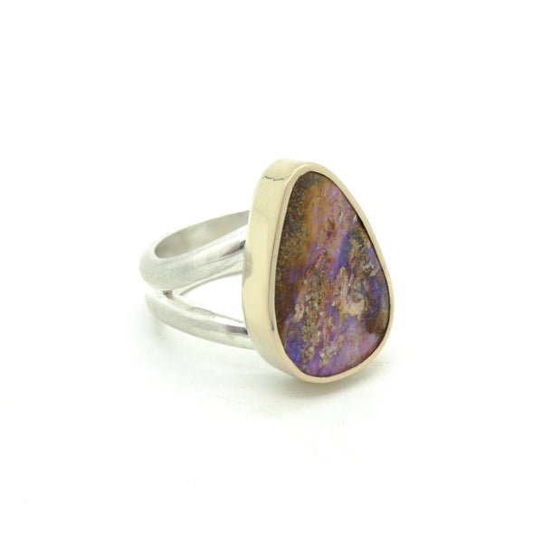Wood Replacement Opal Ring in 14k gold | Size 7.75