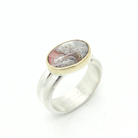 Mixed Metals Mexican Lace Agate Ring | Size 8