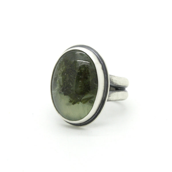 Split Band Prehnite Ring  | Size 5.75