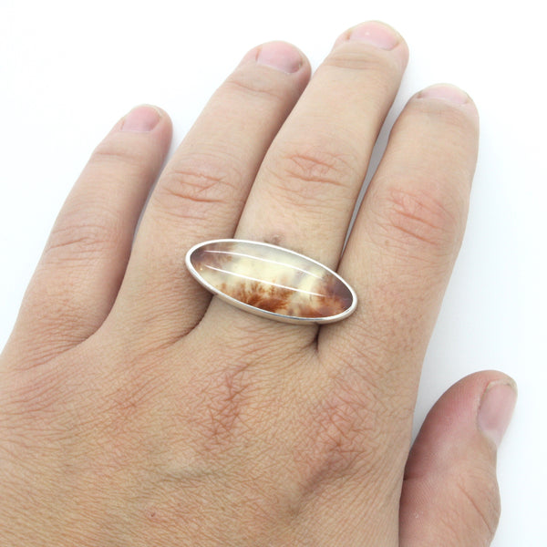 Carey Plume Agate Ring | Size 7