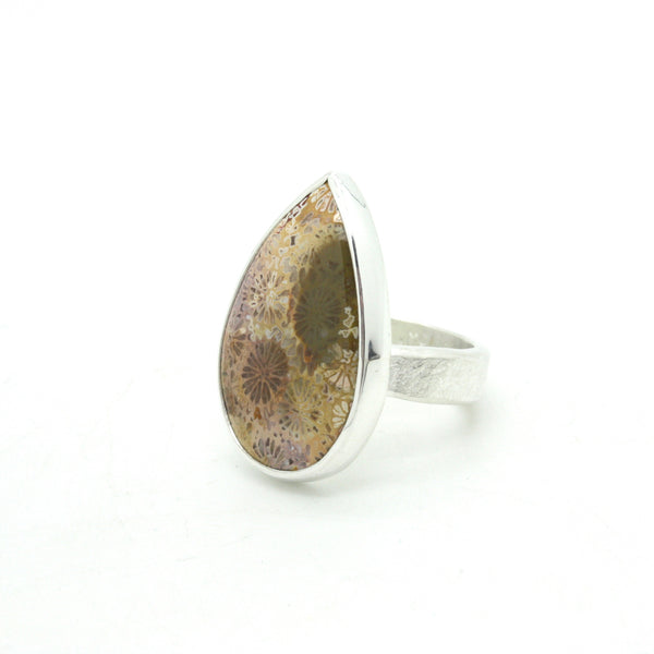 Fossilized Coral Teardrop Ring | Size 7.75