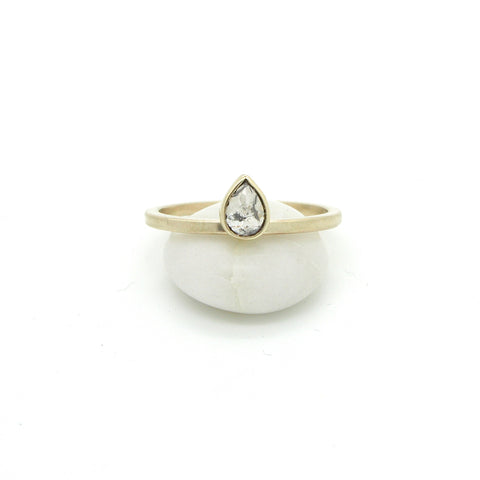 Teardrop Salt & Pepper Diamond Ring | Size 7.5