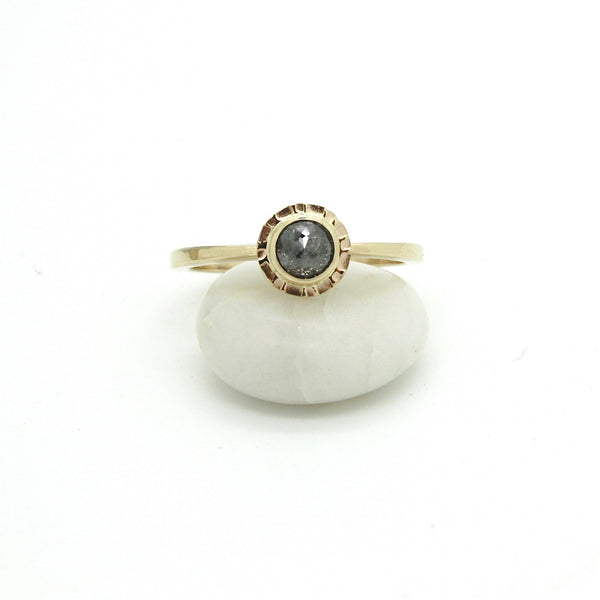 Salt & Pepper Diamond Sunburst Ring | Size 6.5