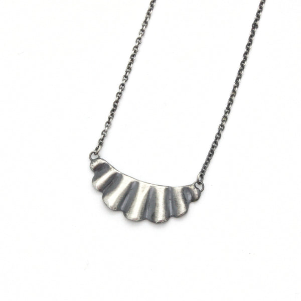 Mini Scallop Necklace | Oxidized Silver