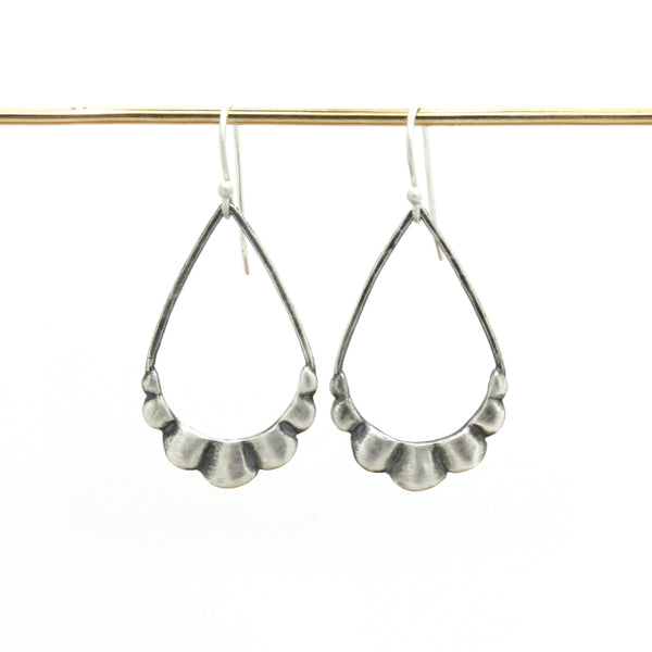Scallop Earrings | Oxidized Silver