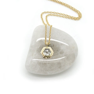 Hexagonal Diamond Sunburst Necklace