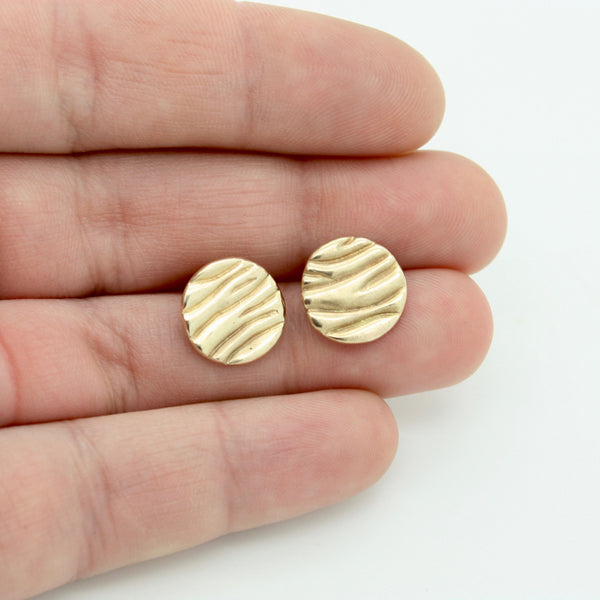 Round Tidal Studs | 14k Gold