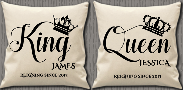 Personalised Cushion Cover~King, Queen