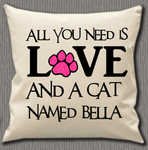 Personalised Cushion Cover~Love Of A Cat