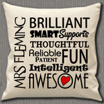 Personalised Cushion Cover~Teacher Awesome