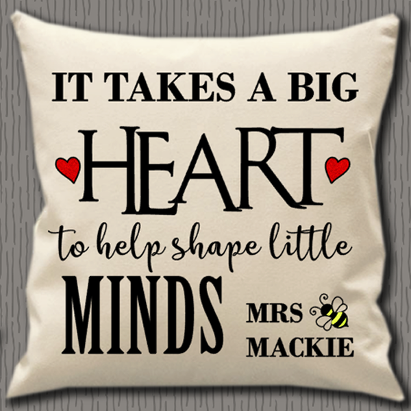 Personalised Cushion Cover~Teacher Heart and Minds