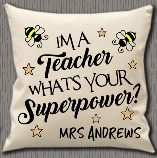Personalised Cushion Cover~Teacher Superpower