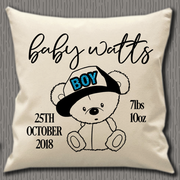 Personalised Cushion Cover~Baby Bear Boy